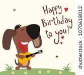 funny puppy dog with guitar... | Shutterstock .eps vector #1070618012