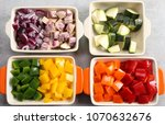 colorful vegetables diced in...   Shutterstock . vector #1070632676