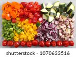 colorful diced vegetables on a...   Shutterstock . vector #1070633516