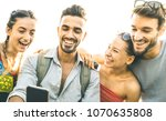 Stock photo friends group having fun using mobile smart phone technology addiction concept in youth lifestyle 1070635808