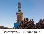drilling rig for drilling oil... | Shutterstock . vector #1070641076