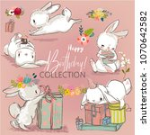 Stock vector cute birthday hares collection 1070642582