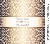 gold wedding invitation card... | Shutterstock .eps vector #1070643572