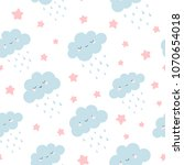 cute clouds with rain drops... | Shutterstock .eps vector #1070654018