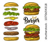 double and classic burger with... | Shutterstock .eps vector #1070654318