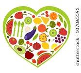 heart shape of fruit and... | Shutterstock .eps vector #107065592