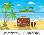 banner beautiful beach by the... | Shutterstock . vector #1070656802
