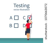 businesswoman is testing.... | Shutterstock .eps vector #1070663072