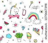 unicorn seamles pattern. vector ... | Shutterstock .eps vector #1070667398