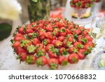 plate with strawberry on... | Shutterstock . vector #1070668832