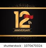 12th anniversary golden design... | Shutterstock .eps vector #1070670326
