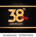 38th anniversary golden design... | Shutterstock .eps vector #1070670356