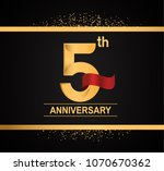 5th anniversary golden design... | Shutterstock .eps vector #1070670362