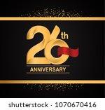 26th anniversary golden design... | Shutterstock .eps vector #1070670416