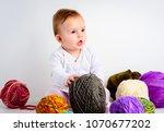 cute little baby girl playin... | Shutterstock . vector #1070677202
