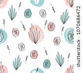 abstract hand drawn floral... | Shutterstock .eps vector #1070686472