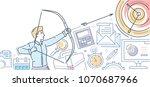 businessman hitting the target  ... | Shutterstock .eps vector #1070687966
