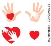 set of hands raising love with... | Shutterstock .eps vector #1070690198