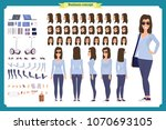 young woman  casual clothes.... | Shutterstock .eps vector #1070693105