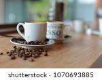 small cup of cappuccino with... | Shutterstock . vector #1070693885