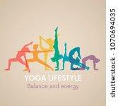 women silhouettes. yoga poses....   Shutterstock .eps vector #1070694035