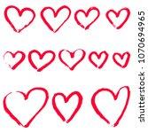 set of hand draw heart. vector... | Shutterstock .eps vector #1070694965