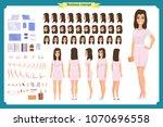 pretty female office employee... | Shutterstock .eps vector #1070696558