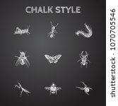 hand drawn beetle sketches set. ... | Shutterstock .eps vector #1070705546