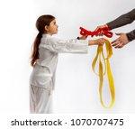 girl karateka successfully...   Shutterstock . vector #1070707475