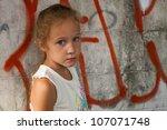 Sad Little Girl On Background...