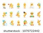 little yellow duck chick...   Shutterstock .eps vector #1070722442