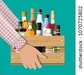 alcohol drinks collection in... | Shutterstock .eps vector #1070725802