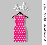 pink polka dot dress on a... | Shutterstock .eps vector #1070727416