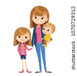 woman with two kids | Shutterstock .eps vector #1070729312