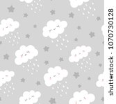 cute clouds with rain drops... | Shutterstock .eps vector #1070730128