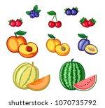 set of fruits clipart  fruits...   Shutterstock .eps vector #1070735792