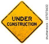 dirty under construction sign   Shutterstock .eps vector #107073632