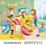 illustration with children... | Shutterstock .eps vector #1070737172
