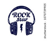 headphones  with rock star... | Shutterstock .eps vector #1070739905