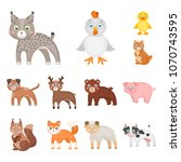 toy animals cartoon icons in... | Shutterstock .eps vector #1070743595