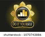 gold emblem with chart icon... | Shutterstock .eps vector #1070743886