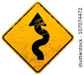 vintage winding roadsign | Shutterstock .eps vector #107074472