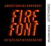 fire alphabet font. speed... | Shutterstock .eps vector #1070745002