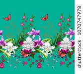 tropical seamless border with... | Shutterstock .eps vector #1070747978
