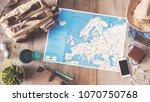 travel concept on wooden...   Shutterstock . vector #1070750768