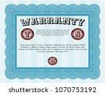light blue formal warranty... | Shutterstock .eps vector #1070753192