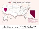 usa map vector  nevada | Shutterstock .eps vector #1070764682