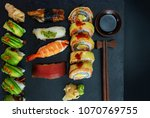 luxury japanese sushi set on...   Shutterstock . vector #1070769755