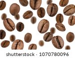 brown roasted coffee beans... | Shutterstock . vector #1070780096
