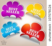colorful stickers and bubbles... | Shutterstock .eps vector #107078126